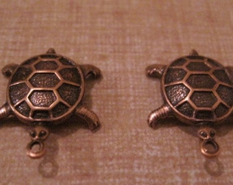 2 Antiqued Copper Ox Turtles Dimensional Charms Stampings Jewelry