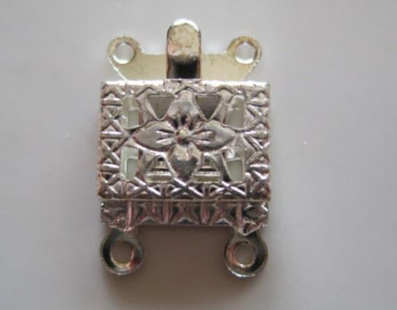 1 Sterling Silver Filigree Box Clasp 2 Strand 10mm x 8mm