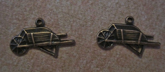SALE!! 75% OFF!! 2 Pc Copper Oxidized Brass Antiqued Wheelbarrow Gardening Charm Charms Stamping Jewelry