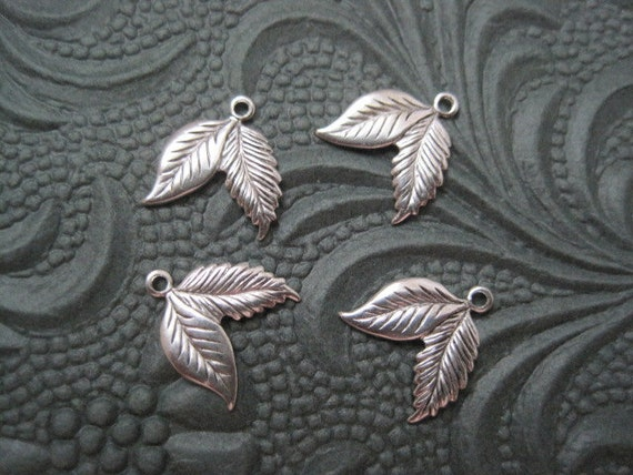 Reserved for Naheeda 10 Antiqued Sterling Silver Plated Brass Small Double Leaf Charms Stampings Jewelry