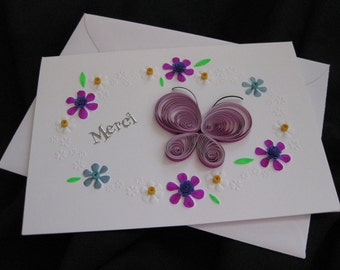 """Embossed """"merci"""" card / butterfly"""