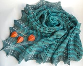 Hand knitted triangle lace shawl, stole, scarf in shades of green, turquoise