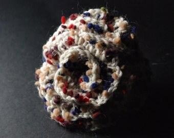 Fabric Brooch, Crochet Flower, Crochet Flower Brooch, Crochet Brooch, Flower Brooch, Grey Flower Brooch