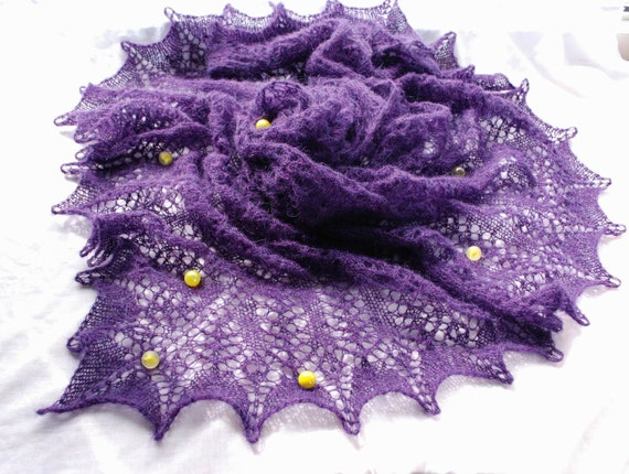 Purple hand knitted lace shawl, stole, scarf