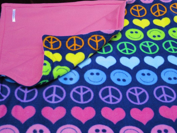 Toddler Baby Blanket Fleece 'Peace, Love and Happiness' Reversible 46x60 inches