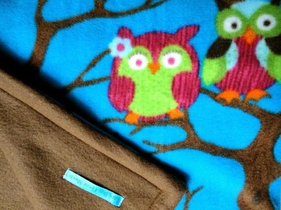 Fleece Toddler/ Baby Blanket- 'Owls at Midnight' for Girls & Boys