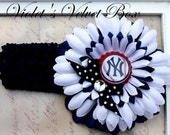New York Yankees Bow Headband Baby Girls luxury boutique bow by Violet's Velvet Box
