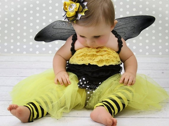 Bumble Bee Tutu - 1st Birthday Tutu set- BEE 7 piece set by Violet's Velvet Box