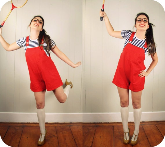 Red Romper Summer Outfit Medium