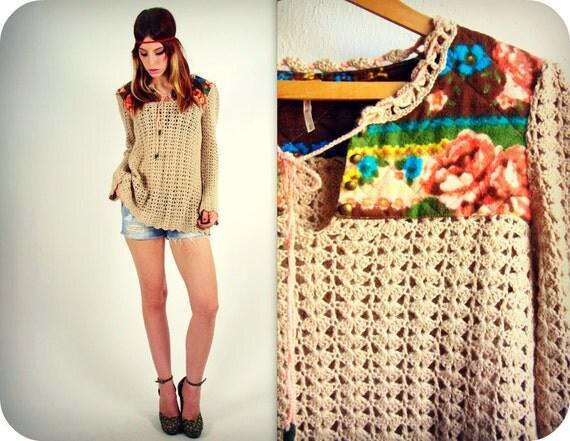 Boho Hippie Sweater Crocheted