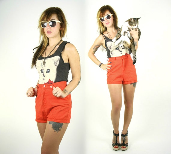 Vintage High Waisted Shorts Red