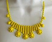 Painted rhinestone necklace Bright Neon Yellow