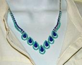 Painted rhinestone necklace Dark Purple and light mint blue