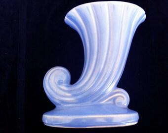 Vintage Periwinkle USA cornucopia design vase-TREASURY ITEM