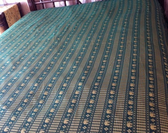 "80"" x 100"" Green and Gold Siam Imports Bedspread Table Linen Cover"