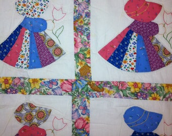 Vintage Hawaiian Sunbonnet Sue patchwork blanket quilt with pink gingham backside - TREASURY ITEM