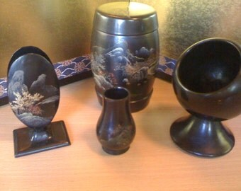 Beautiful Vintage Chinese Black Lacquer Tobacco set sale from 95.00