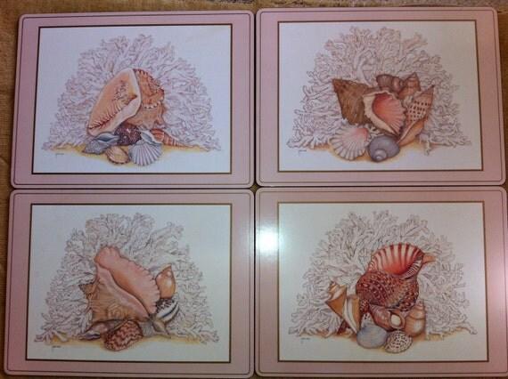 Set of 4 Large PIMPERNEL Seashell Cork Placemats
