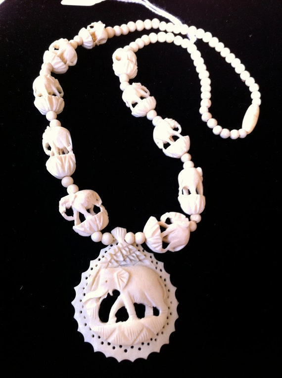 Preban carved ivory elephant necklace - 20 inches