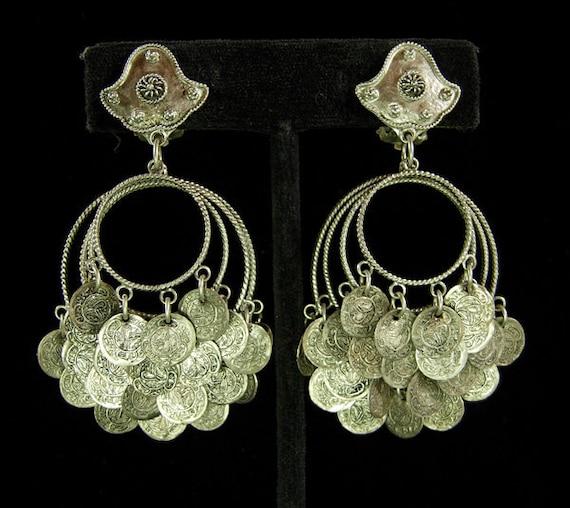 Runway Etruscan Tribal Style Coin Chandelier Earrings 70s Alpaca or Low Grade Silver