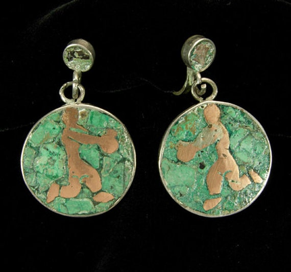 50s Modern Taxco Sterling Mixed Metal Malachite Earrings Mexico Silver Mexican Modernist