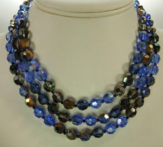 60s Marvella 3 Row Swarovski Aurora Borealis Necklace Vitrail Blues Smoke All Glass Beads