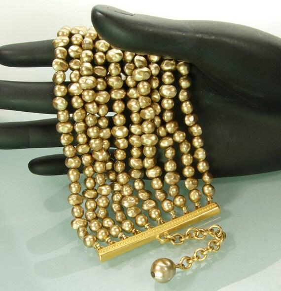 Huge 80s Karl Lagerfeld Champagne Faux Pearl Bracelet 10 Strands Baroque Glass Pearls