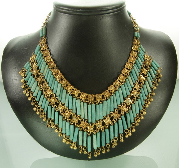 Huge 1920s Egyptian Revival Gilt Metal Faience Necklace Art