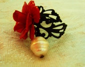 Red Rose & pearl ring