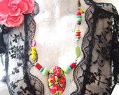 FRIDA KAHLO FIESTA handsculpetd flower pendant with rainbow of semi precious stones and swarovski crystals ooak