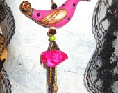 Gold Cap Tropical Hot pink bird pendant with vintage black rhinestones green howlite and facet rondelles beads free shipping