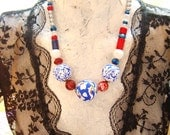 SALE Royal Beach ball style   red white blue statement necklace agate coral lapis lazuli quartz