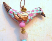 Kath Kidston inspired bird pendant handsculpted by Coco Star pink red rosie pattern  blue pink carved rose shaped rose quartz  gold leaf