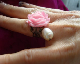 Pink Rose Ring Brass & FWP