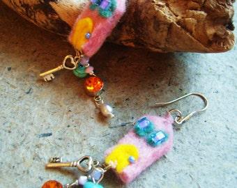 PINK LITTLE  whimsy HOUSE earrings felt and gemstones sterling silver keys yellow blue