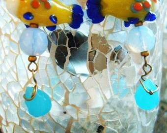 MULTI COLOUR NEMO fish handblown glass facet drop earrings