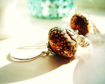 Cracked faceted Quartz and black clay disks sprinkled with real 24k gold leaf drop Earrings