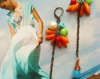Tropical earrings blue green multi colour beach wear bright gemstone real pearl and wire wrapped blue raindrop earrings