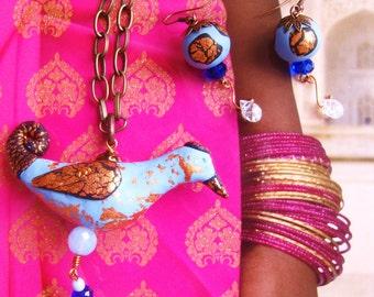 OOAK  Black Capped Blue Bird pendant set with earrings hand moulded designer copper leaf pale blue clay quartz crystal drop