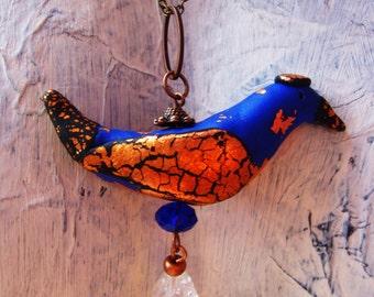 ROYAL BLUE BLACK capped blue  bird unique handmade pendant with copper gold leaf quartz crystal