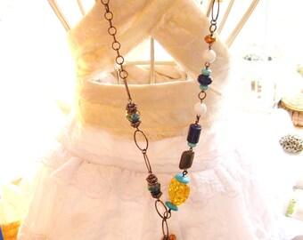 Boho Gypsy Turquoise Tassel pendant handmade Amber Lapis Lazuli Torqouise beads gunmetal chain mail Asymetric