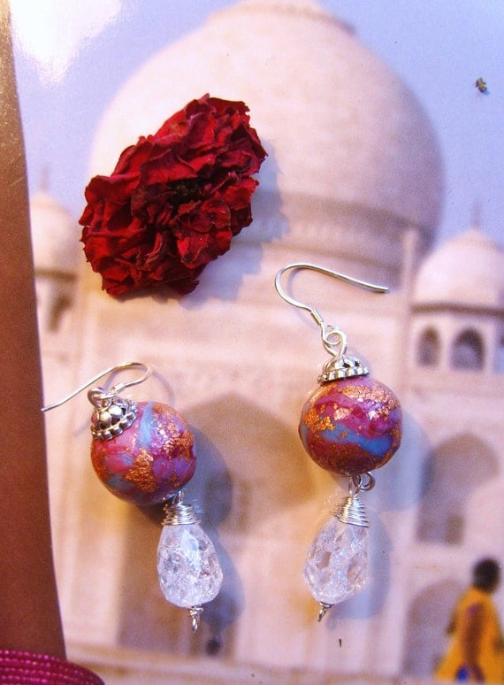 Bollywood Dream cloud earrings whimsical  misty blue gold leaf and pinky red hues quartz droplets