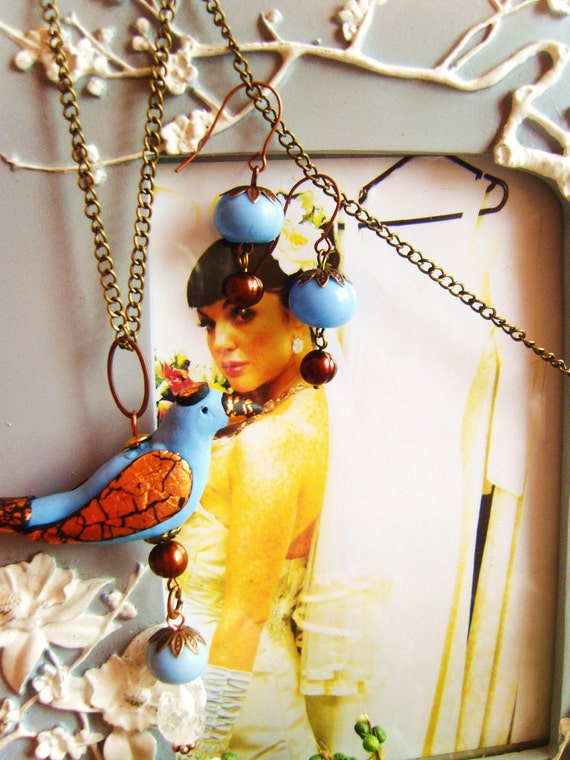 BLACK CAP BLUE bluebird and chocolate pearl pendant set pale blue copper leaf clay semi precious stones