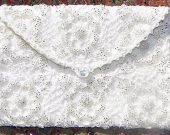 Beautiful Beaded Crochet Bridal or Prom Silk Lined Purse