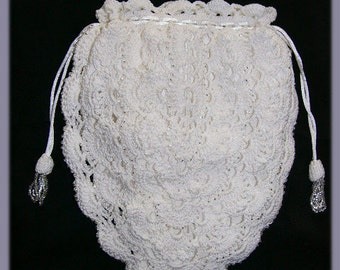 Beaded Bridal or Prom Drawstring Purse with Silk Lining