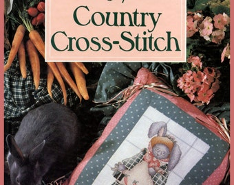 1990 Alma Lynne's Country Cross Stitch Hardback Book With Over 40 Designs