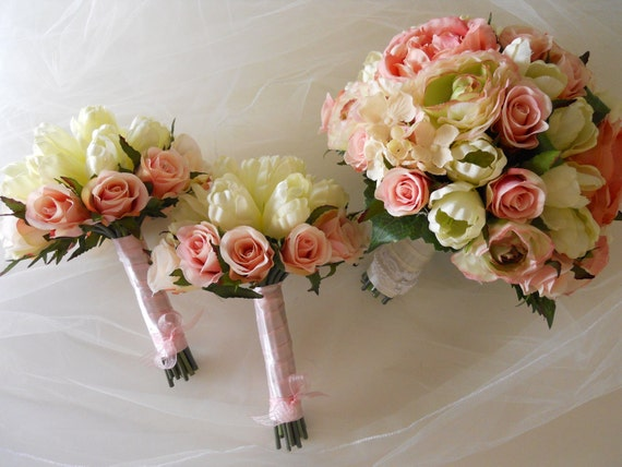 Reserved Listing for Stephanie Li. Shade of Pink Bridal Bouquet Set