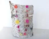 Crochet disc necklace, pink, yellow, orange, cotton