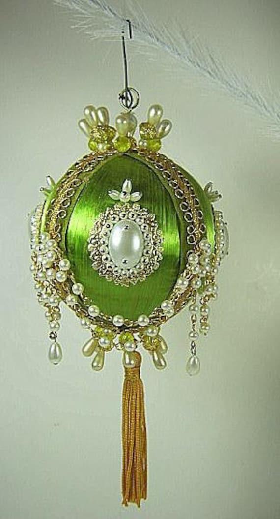 Vintage BEADED Christmas ORNAMENT Green Satin HANDMADE Pearls