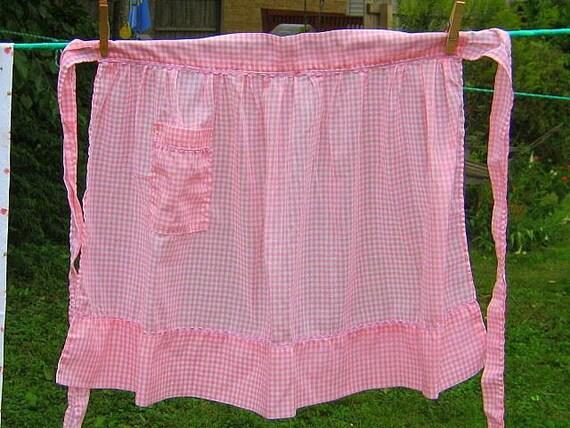 SALE  Vintage Pink Gingham Apron RickRack Trim Farmhouse Kitchen